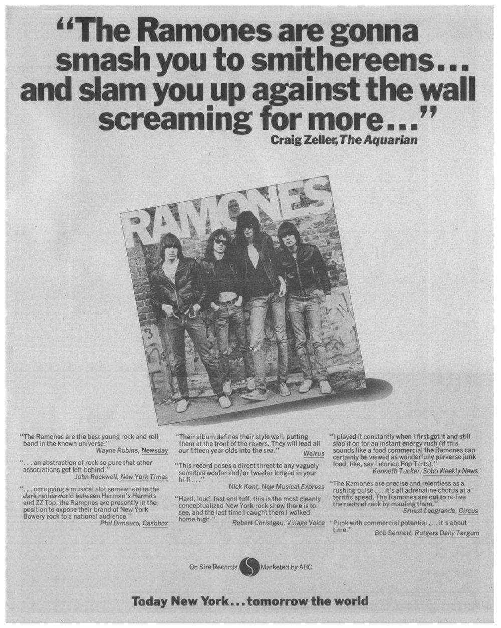 Publicidad del primer disco de Ramones