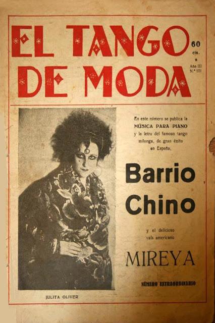 Julita Oliver, portada de  El tango de moda , con su impactante imagen  noir