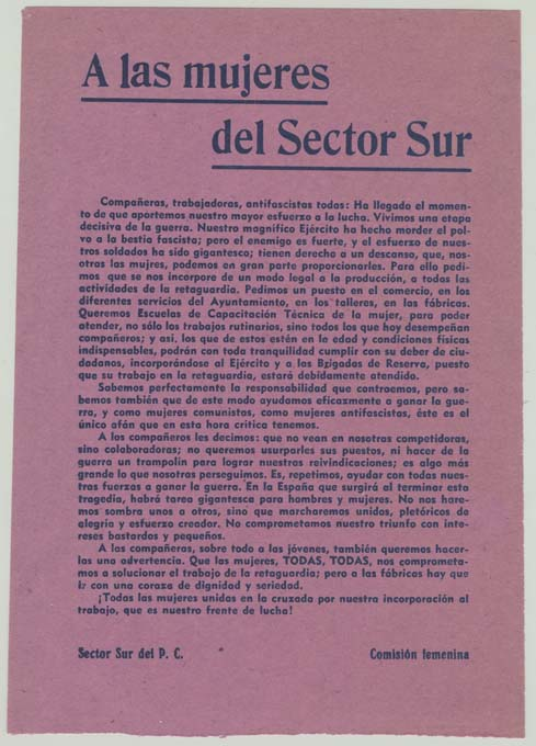 Partido Comunista de España. Comisión Femenina (1936-1939)