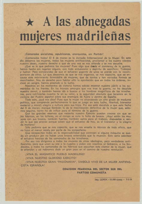 Partido Comunista de España (Sector Sur) / Comisión femenina