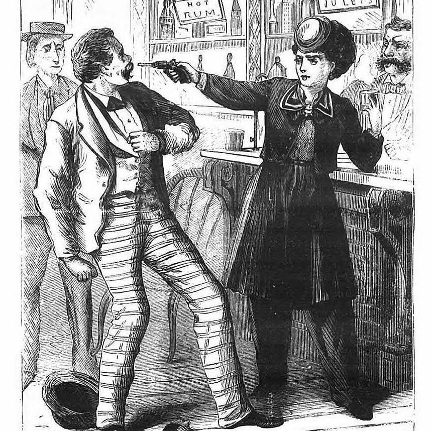 Mujer armada expresando claramente que «No es no». Ilustración de 1872