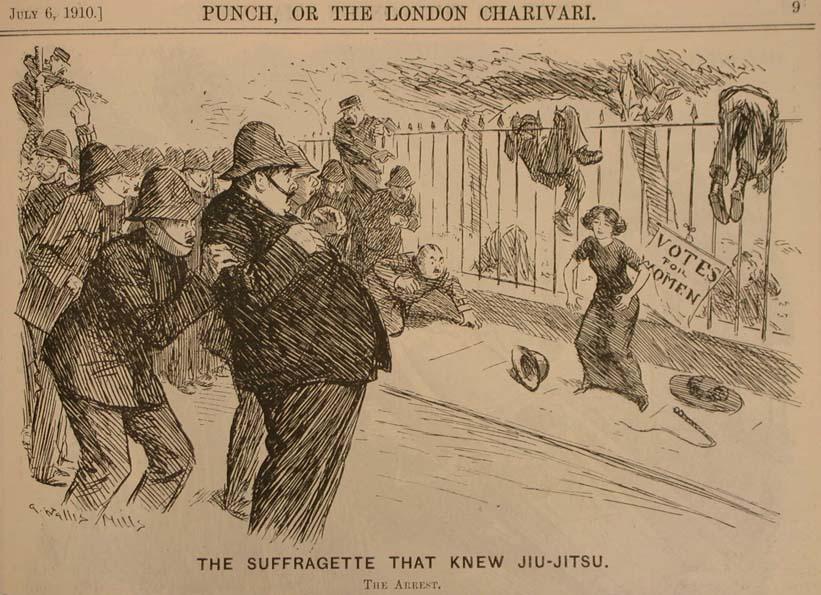 The Suffragette That Knew Jiu-Jitsu ,  Punch , 6 de julio de 1910
