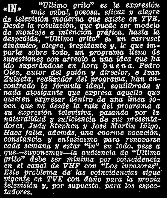 Crítica de  Último Grito  publicada en  ABC  (24 de noviembre de 1968)