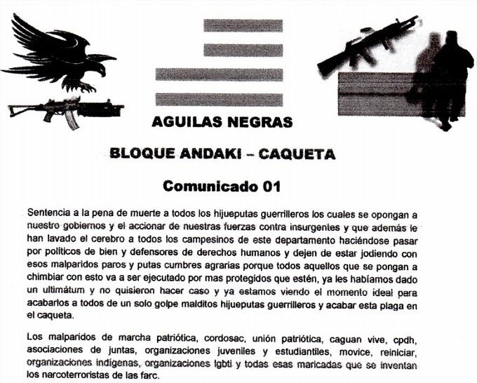 Comunicado de amenazas firmado por Águilas Negras