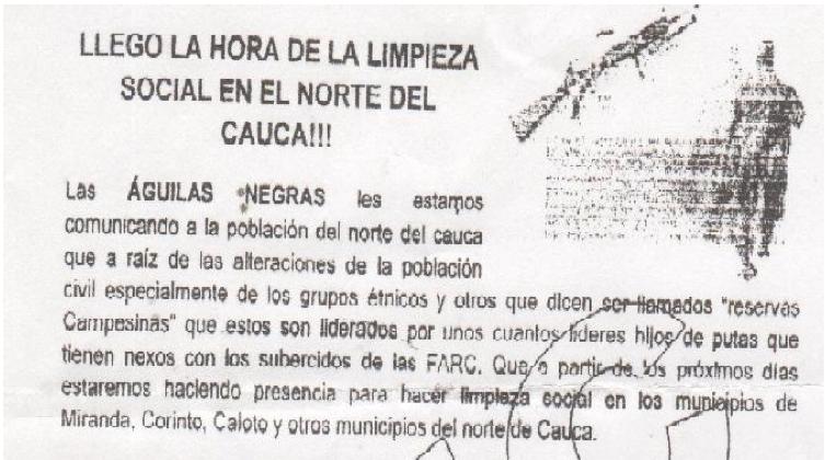 Panfleto contra las FARC de Águilas Negras