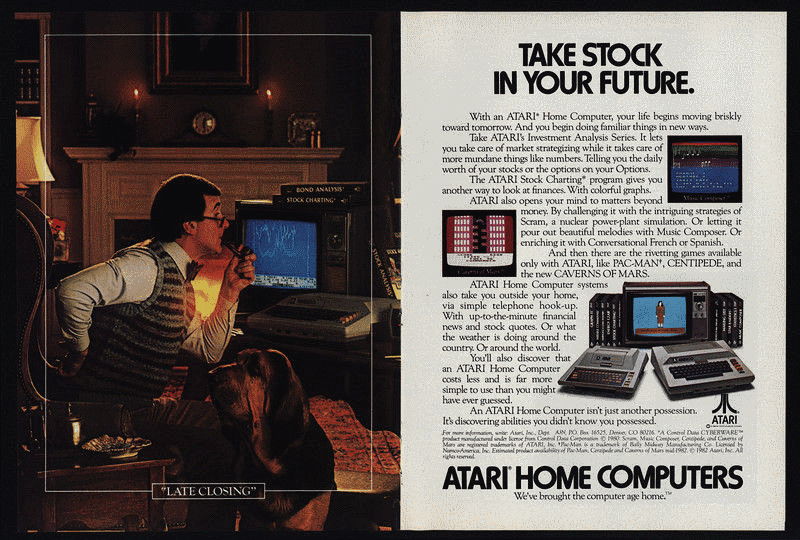 Anuncios de Atari a comienzos de los años ochenta