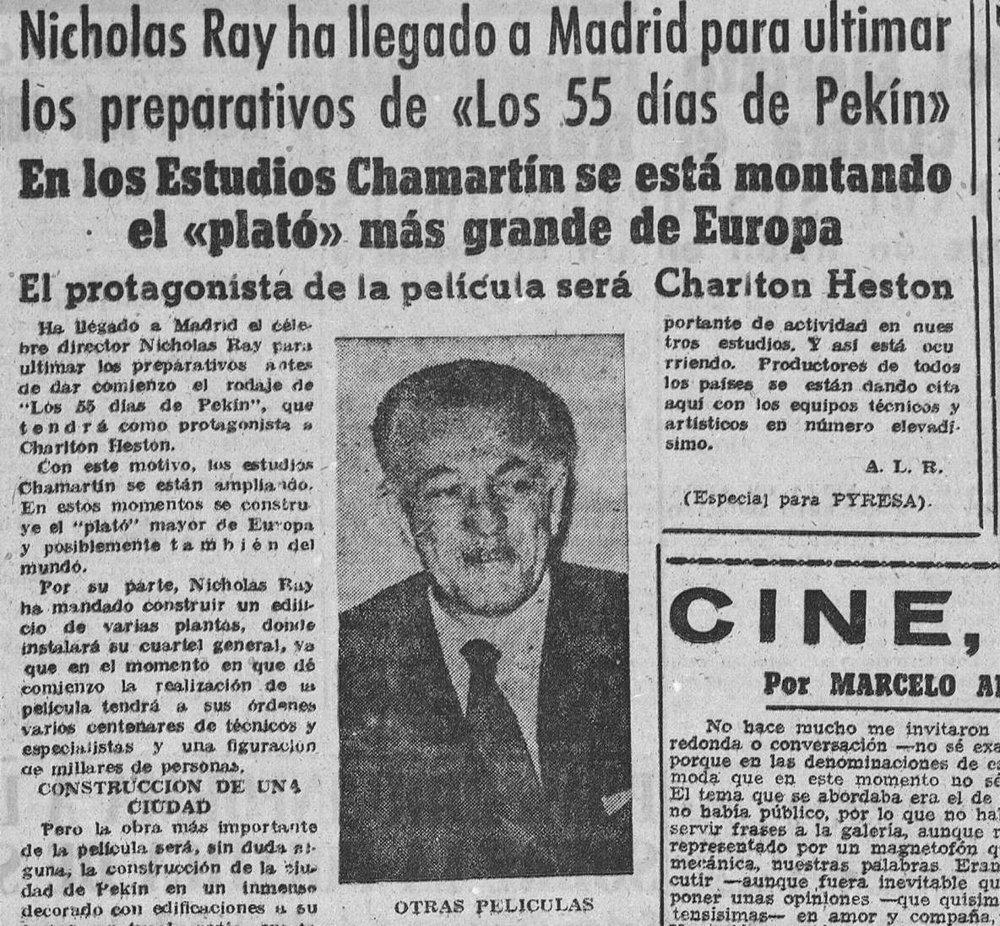 Ray llega a España con motivo del rodaje de  50 días de Pekín  ( Diario de Zamora , 27 de abril de 1962)