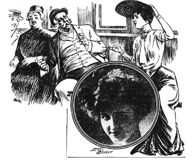 Una mujer blande su alfiler ( The New York Evening World , 1903)