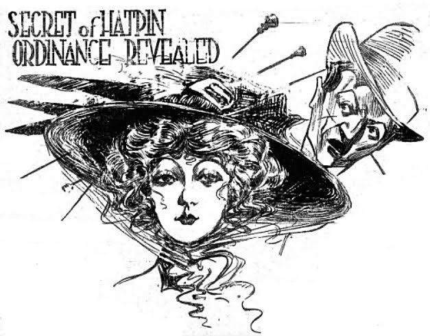Ilustración ridiculizando el uso de alfileres por las mujeres ( Indianapolis Star , mayo de 1901)
