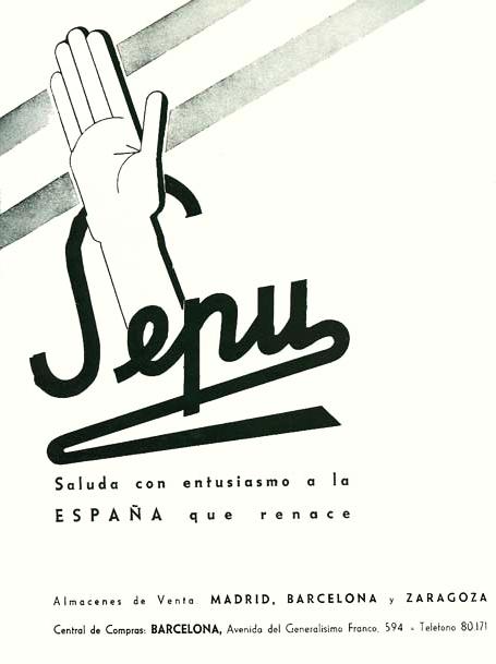 Publicidad de SEPU «saludando» la victoria de Franco