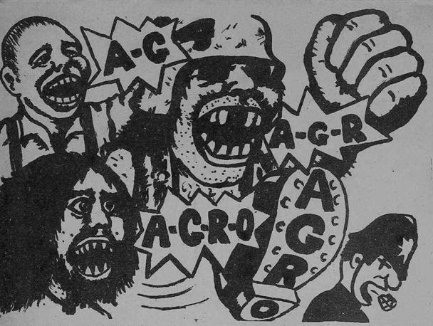 Viñeta de un cómic obra de King Mob. Skinheads, hippies y motoristas unidos contra la policía. Publicada en  Agro  en diciembre de 1969