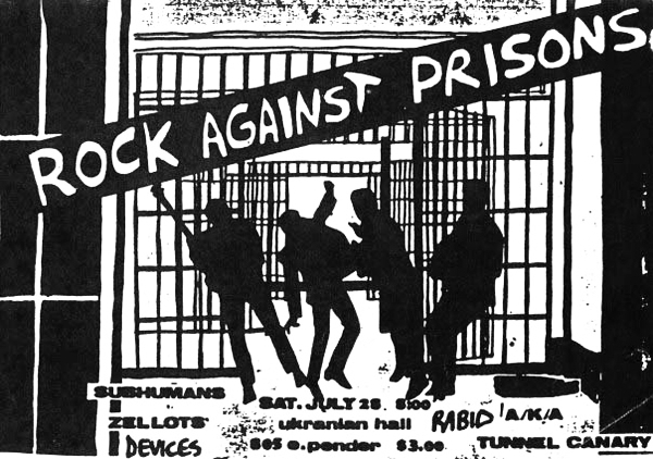 Flyer de un concierto celebrado en 1979 de la organización canadiense Rock Against Prisions