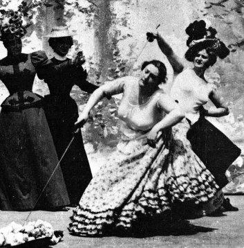 Una escena de An Affair of Honor (1901). Las mujeres, debido a la censura, no combaten en topless