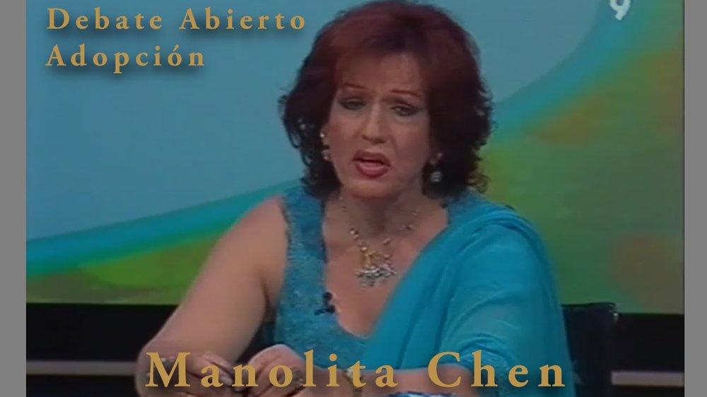 La falsa Manolita Chen en un debate televisivo sobre adopción
