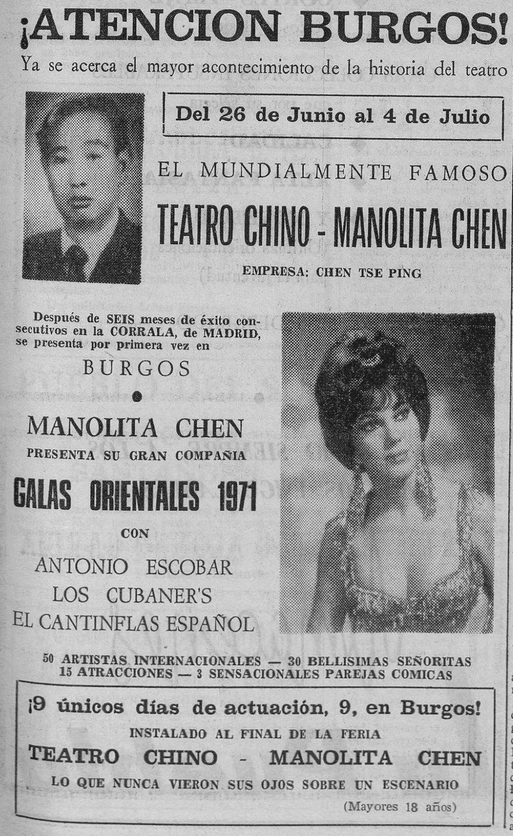 Anuncio en prensa del circo de Manolita Chen ( Diario de Burgos , 1971)