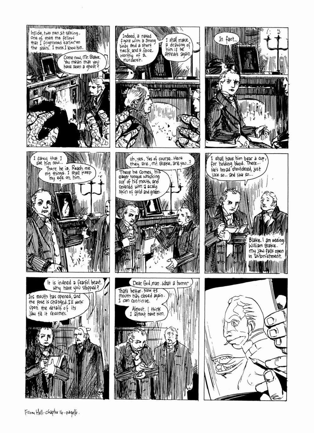 Blake en el momento en que pinta el boceto de  The ghost of flea  en  From Hell  de Alan Moore