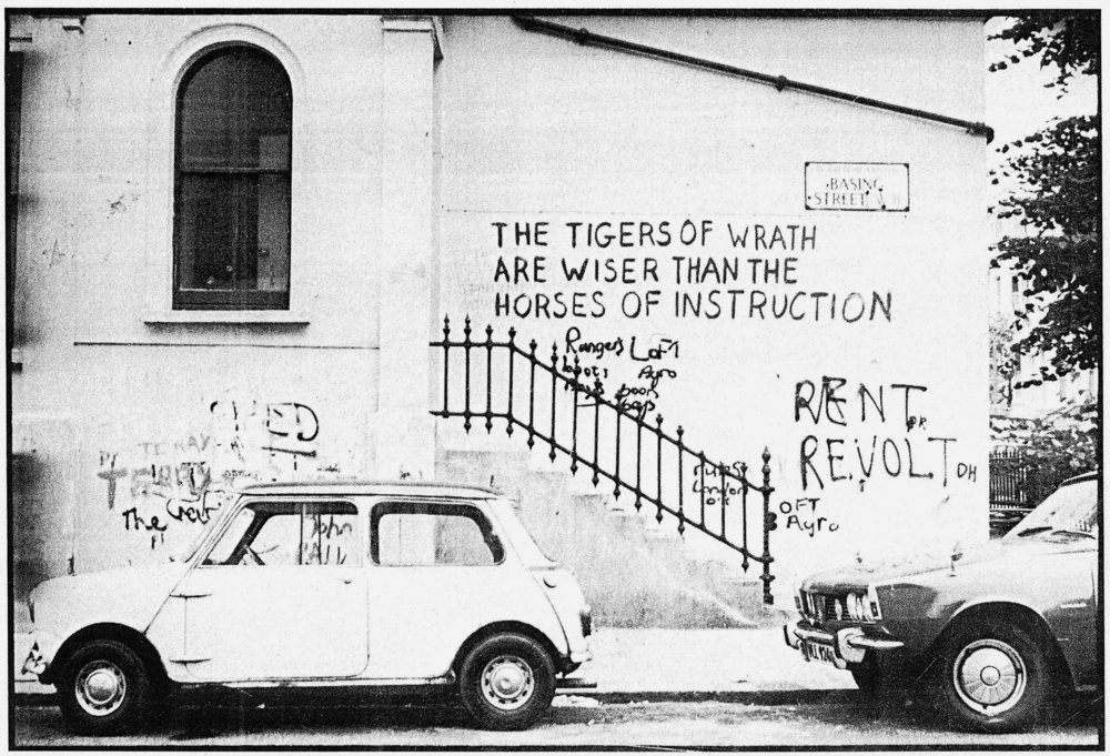 Pintadas de King Mob con citas de William Blake (1968)