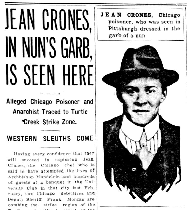 El pánico se desata ante la búsqueda de Crones.  Pittsburgh Daily Post  (15 de mayo de 1916)