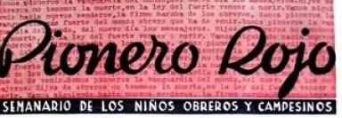 Cabecera  Pionero Rojo , el semanario infantil del POUM