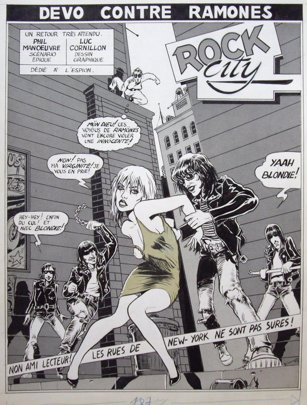 Versión francesa del cómic de Luc Cornillon,  Devo contre Ramones («Especial Rock», número 45, el 39 de la edición inglesa, de  Métal Hurlant,  10  octubre de 1979)