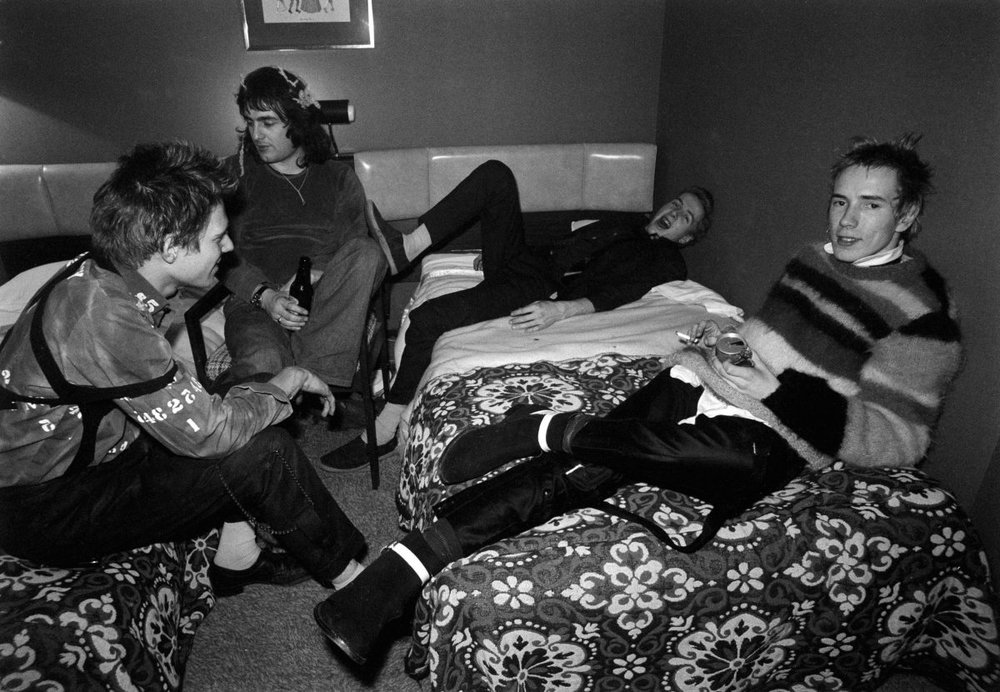 Paul Simonon, Goodman, Joe Strummer y Johnny Rotten. Anarchy Tour