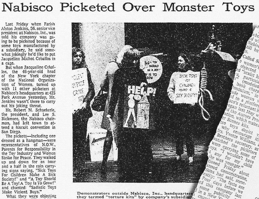 NOW, la organización feminista, protesta contra los Aurora Monsters en Nueva York ( The New York Times , noviembre de 1971)