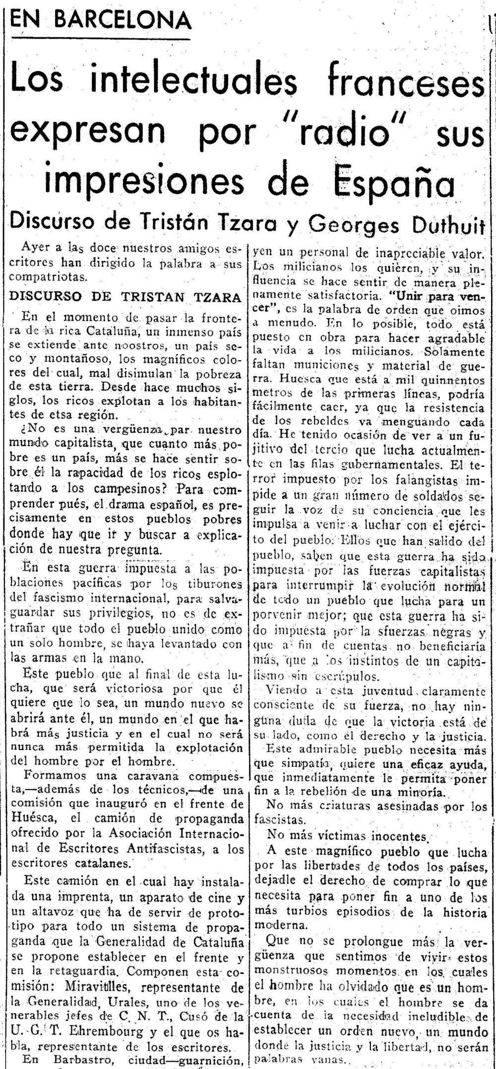 Tzara habla al pueblo de Barcelona ( Nuestra lucha , 22 de noviembre de 1936)