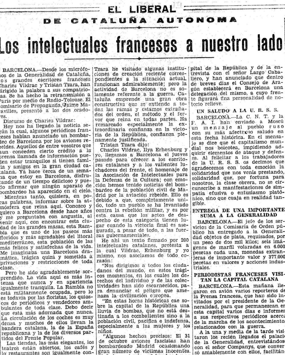 Tzara y otros intelectuales extranjeros con la causa antifascista ( El Liberal , 8 de noviembre de 1936)