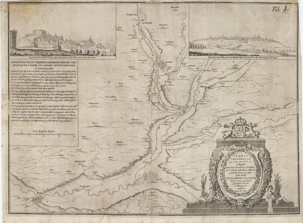 Plano del proyecto del Real Canal del Manzanares de los coroneles Grünenberg (1668)