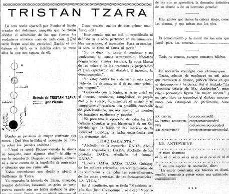 Tzara visita el Pombo ( Gaceta de Pombo , mayo de 1929)