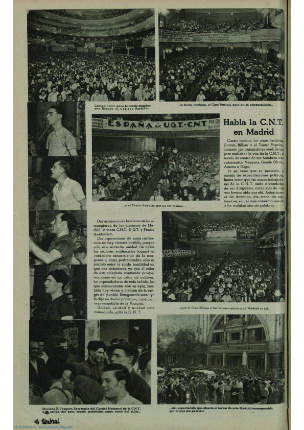 Varios cines madrileños colectivizados. Arriba, a la derecha, imagen de un abarrotado cine Durruti ( Umbral , marzo de 1937)