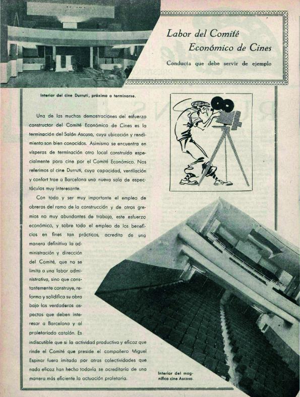 El cine Durruti, arriba a la izquierda ( Mi Revista , enero de 1938)