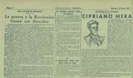 Noticia del mitin de Cipriano Mera en el cine Durruti ( Solidaridad Obrera , 24 de marzo de 1937)