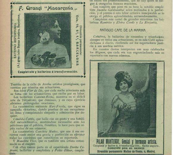 Cupleteras y variedades en el Cine Bello, antiguo café de La Marina ( Eco Artístico , 25 de septiembre de 1913)