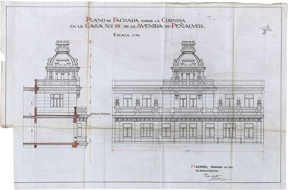 Planos y aspecto de la fachada del edificio en que estaba el Ateneo Femenino Magerit