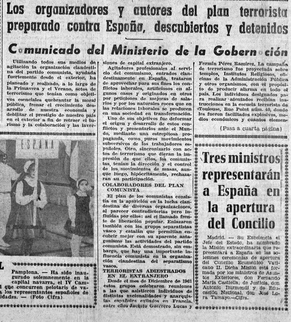 Noticia publicada en el  Diario de Burgos  (23 de septiembre de 1962) sobre la detención de los «terroristas»