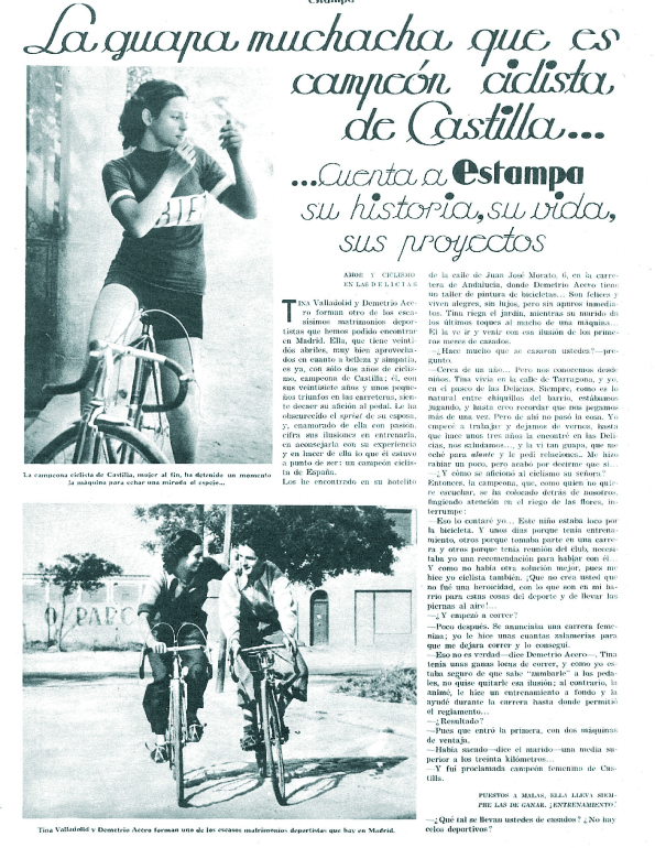 Tina, ciclista del Velo Club Portillo ( Estampa , 4 de julio de 1936)