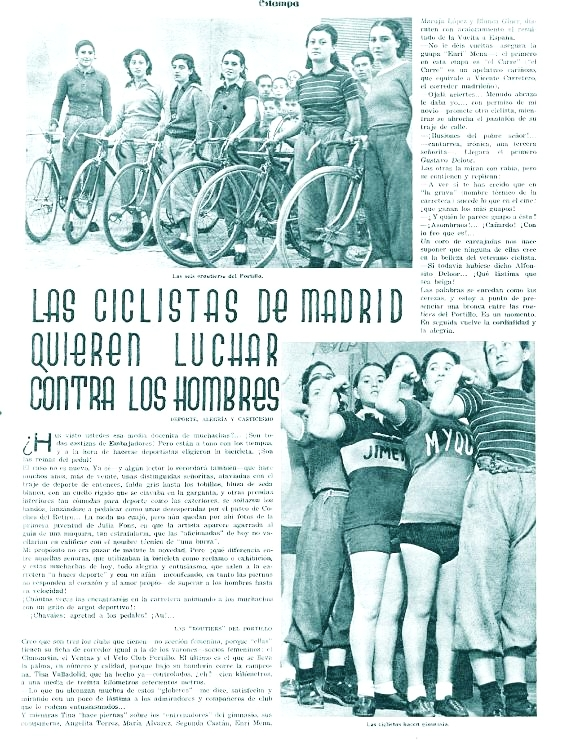 Las chicas ciclistas de Portillo ( Estampa , 13 de junio de 1936)