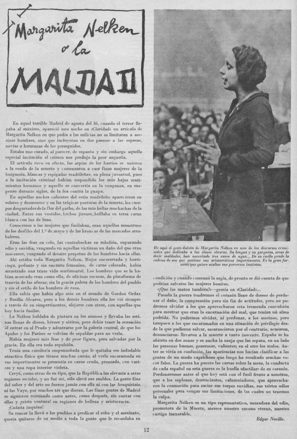 «Margarita Nelken o la maldad», por Edgar Neville ( Y , septiembre de 1938)