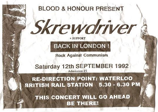 Flyer con la redirección del concierto de Srewdriver (septiembre de 1992)