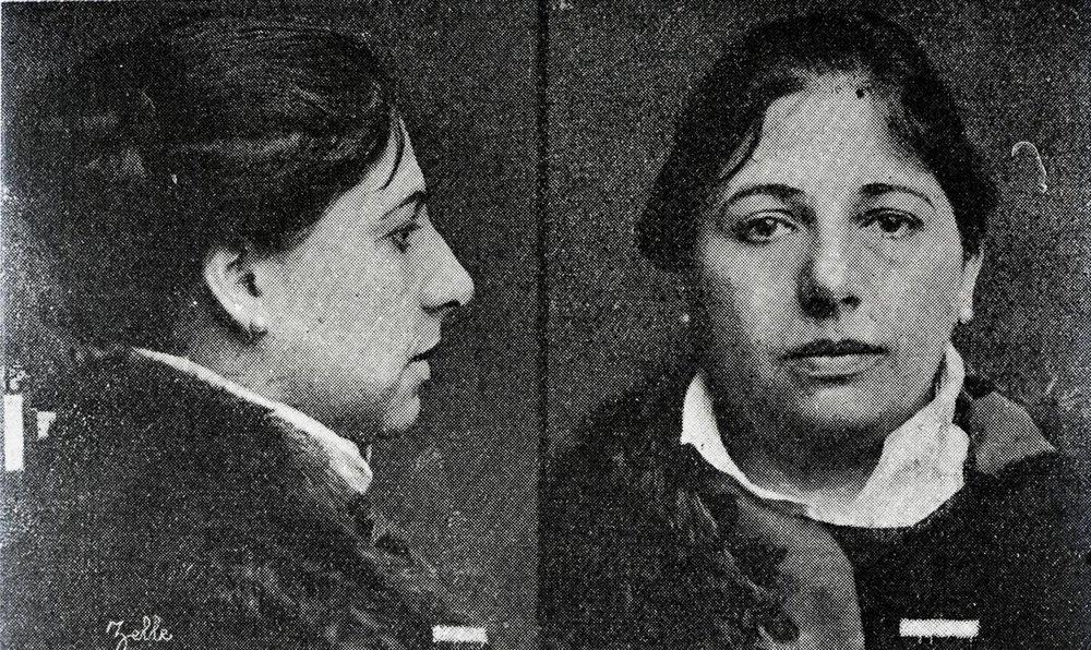 Mata-Hari detenida por espionaje y traición. Ficha policial