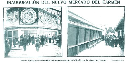 Noticia de la inauguración del nuevo y renovado mercado de El Carmen de Madrid, frente al Kursaal