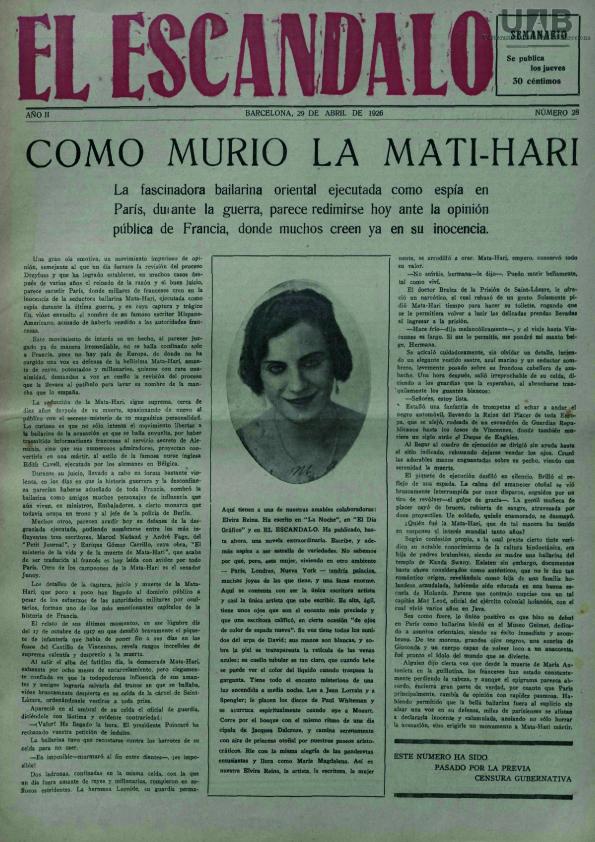 La muerte de Mata-Hari en  El Escándalo  (29 de abril de 1926)