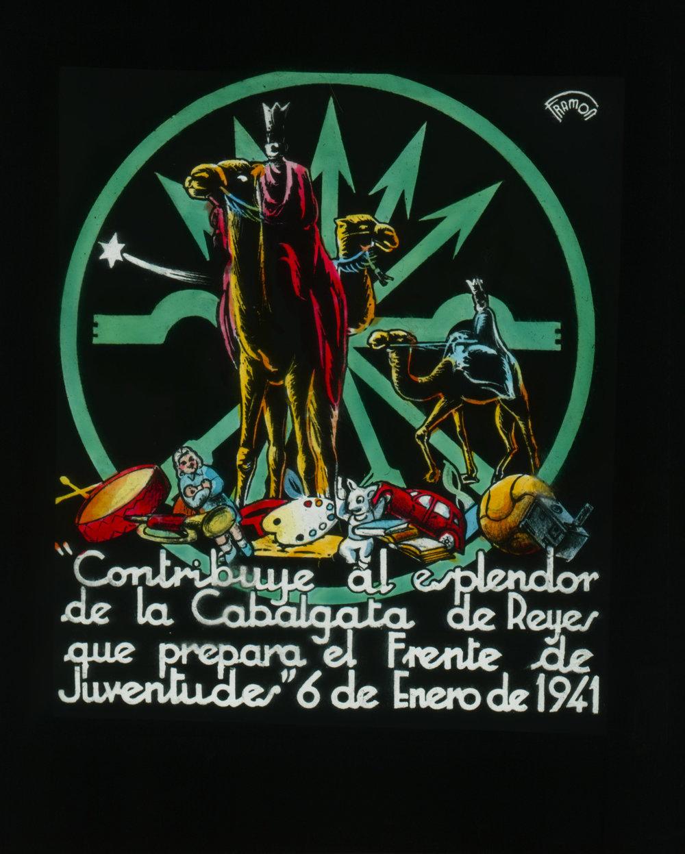 Cartel del Frente de Juventudes para la campaña de Navidad y el desfile del dia de Reyes de 1941