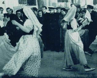 Bailes tradicionales ante Suñer y Pilar en el Retiro ( Legiones y Falanges , enero de 1941)