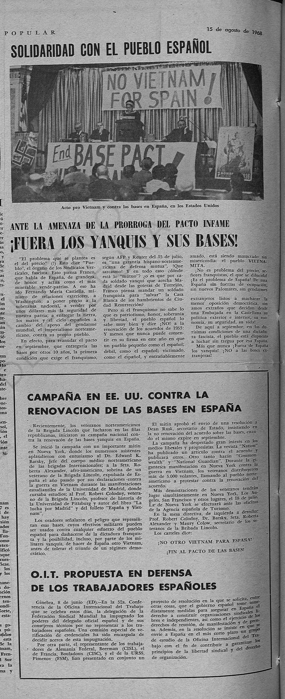Roberta pronuncia un discurso en un acto celebrado en Estados Unidos, tras su regreso de Madrid, contra la guerra de Vietnam y las bases estadounidenses en España ( España Popular , 15 de agosto de 1968)