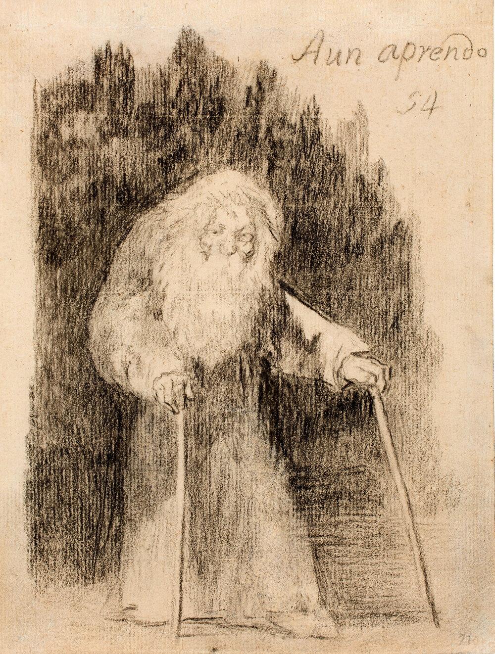 Francisco de Goya, «Aún aprendo», Álbum de Burdeos I o Álbum G, n.º 54, 1825-1828, dibujo a lápiz negro y lápiz litográfico sobre papel verjurado agrisado, 192 x 145 mm, Museo del Prado (Madrid, España)