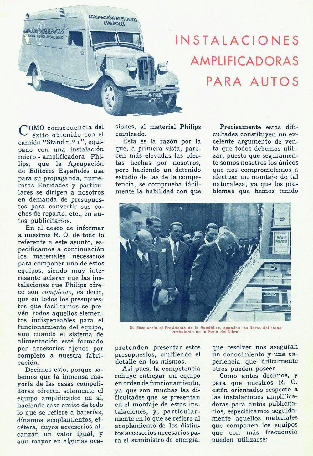 Reportaje sobre el camión-stand en el número 35 de  Radio y Luz  (octubre de 1934)