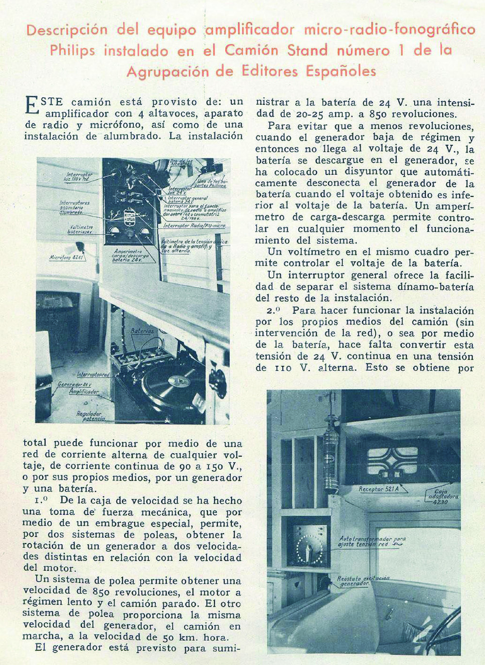Espectacular interior del camión-stand en el número 37 de  Radio y Luz  (enero de 1935)