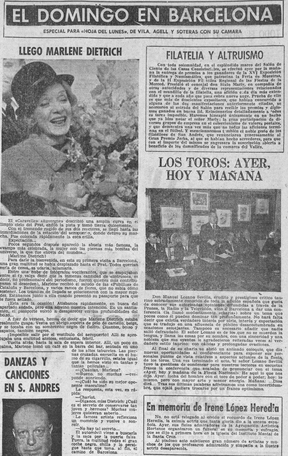 La llegada de Dietrich a Barcelona relatada por  La Hoja del Lunes  (3 de diciembre de 1962)